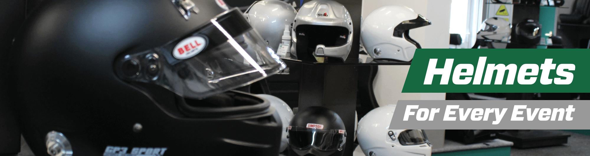 Helmets – For Every Event – www.gsmotorsport.co.uk Hero Image – October 2017
